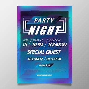 Festival de música plantilla de póster flyer de fiesta de club nocturno con fondo de colores