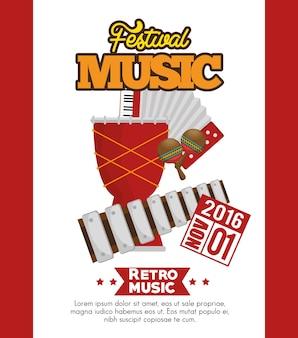 Festival de música set instrumentos vector ilustración diseño