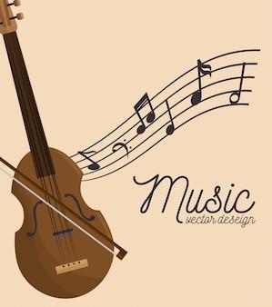 Festival de música violín de madera y notas