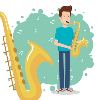 Festival de musica en vivo con hombre tocando saxofon