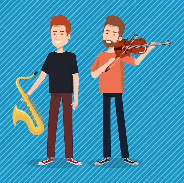 Festival de música en vivo con hombres tocando saxofón y violín.