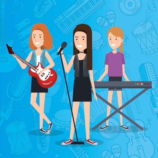 Festival de música en vivo con mujeres tocando instrumentos y cantando.