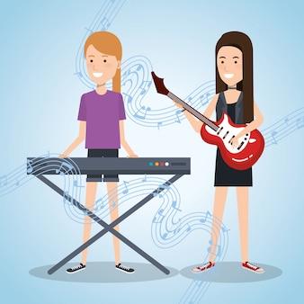 Festival de música en vivo con mujeres tocando piano y guitarra.