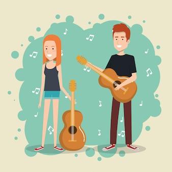 Festival de música en vivo con pareja tocando guitarras.