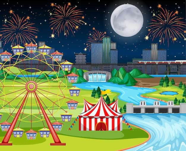 Festival nocturno temático del parque de atracciones con gran escena de paisaje lunar