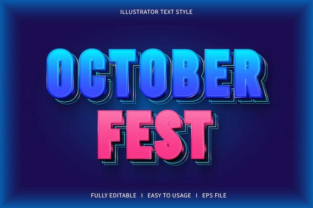Festival de octubre, efecto de fuente de estilo de texto azul rosa