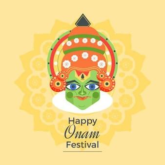 Festival onam plano con saludo