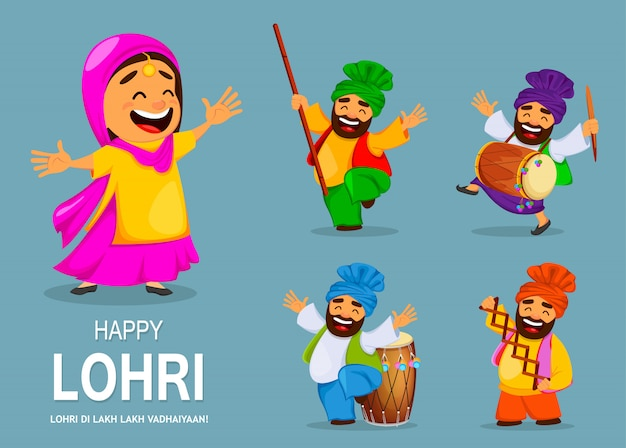Festival popular de invierno punjabi folk lohri