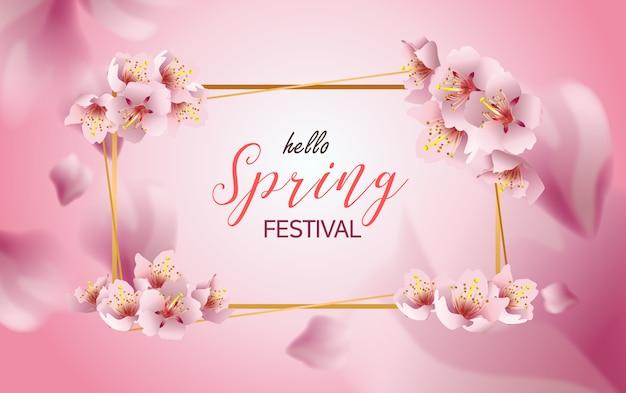 Festival de primavera banner flores de cerezo