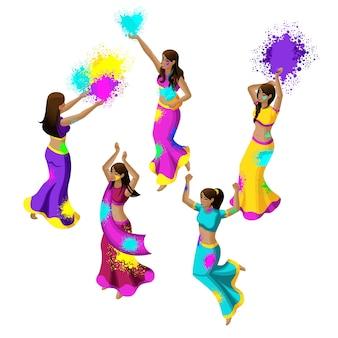 Festival de primavera, festival de colores, niñas indias saltan, se regocijan, felicidad, tiran polvos de colores, hermosos movimientos, vestidos sari