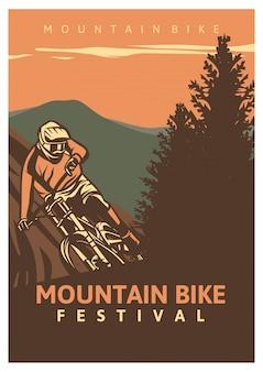 Festival retro de bicicleta de montaña, cartel vintage