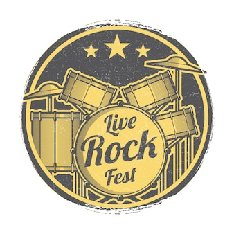 Festival de rock en vivo festival vector grunge emblema diseño