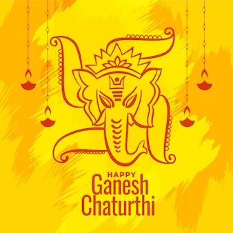 El festival shree ganesh chaturthi desea tarjetas de felicitación