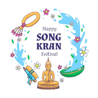 Festival songkran dibujado a mano