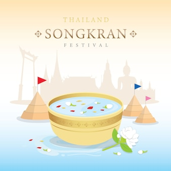 Festival de songkran, salpicadura de agua de tailandia, vector tradicional tailandés