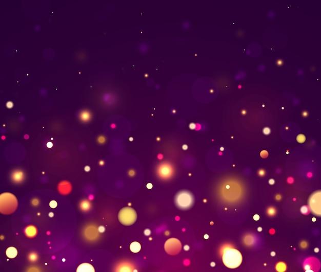 Festivas luces luminosas moradas y doradas