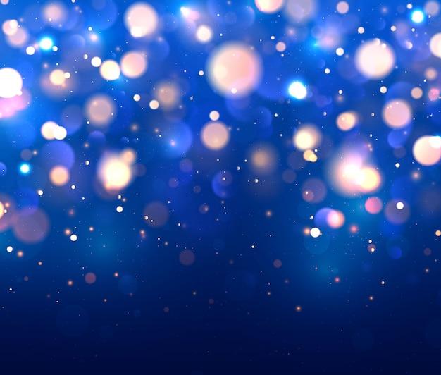 Festivo fondo azul, amarillo, naranja. bokeh de luces.