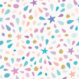 Festivo de patrones sin fisuras con confeti de brillo y salpicaduras.