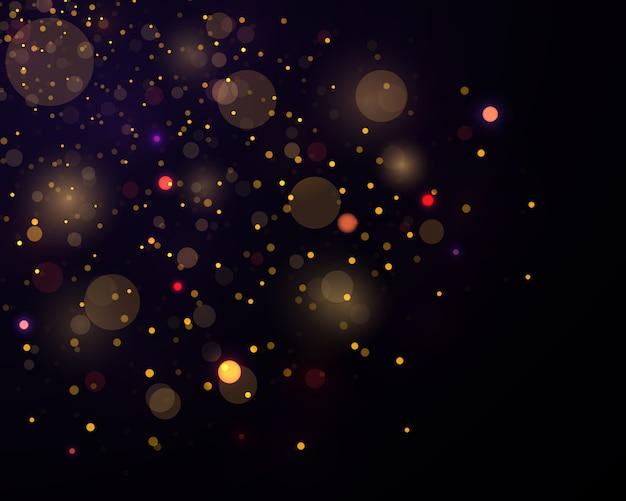 Festivo púrpura y dorado luminoso con luces de colores bokeh.