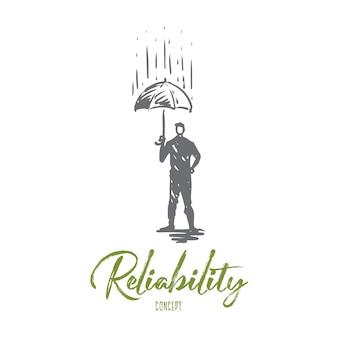 Fiabilidad, seguridad, protección, seguridad, concepto seguro. persona dibujada mano con paraguas bajo el bosquejo del concepto de lluvia.