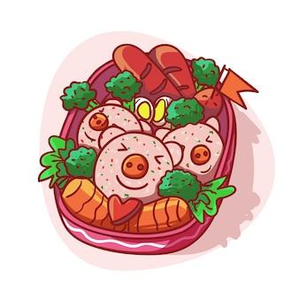 Fiambrera linda y kawaii con ilustración colorida del menú de arroz en forma de cerdo