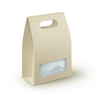 Fiambrera de la manija para llevar del rectángulo en blanco de la cartulina de brown que empaqueta para el bocadillo