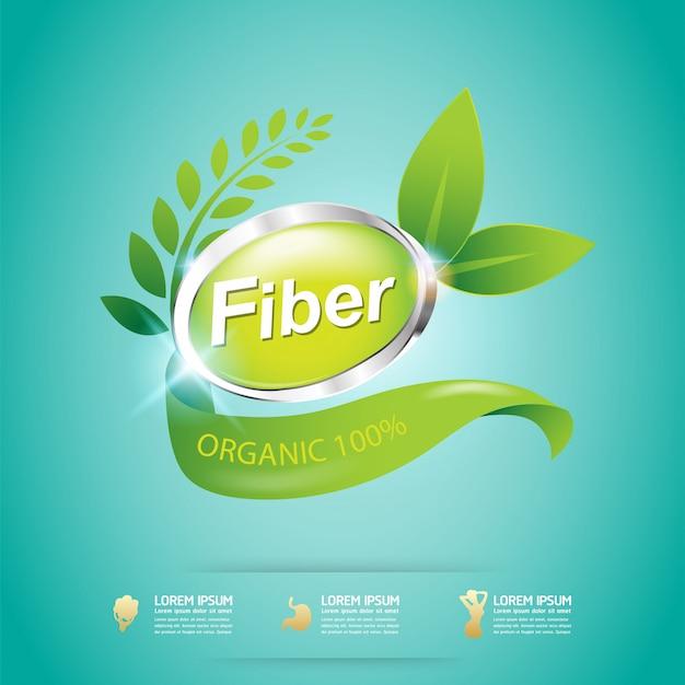 Fibra en la etiqueta orgánica del concepto del vector de los alimentos verdes