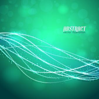 Fibras curvas brillantes con destellos y luces borrosas sobre fondo verde