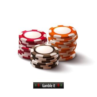 Fichas de casino aisladas