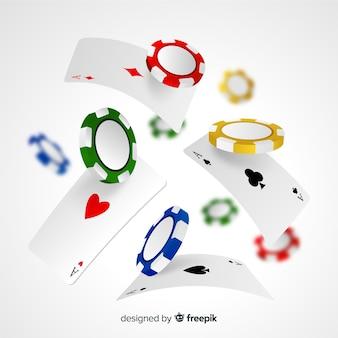Fichas de casino y cartas