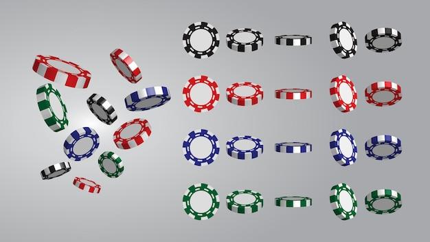 Fichas de casino realistas rojas, verdes, azules y negras o fichas voladoras para apostar