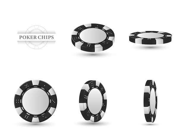 Fichas de póker en diferentes posiciones. fichas negras aisladas en luz.