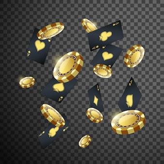 Fichas de póquer de casino oro y naipes volando en negro transparente aislado.