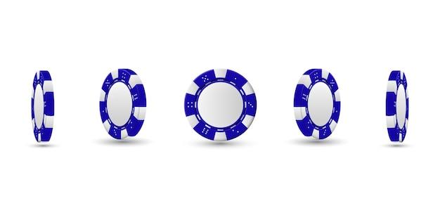 Fichas de póquer en diferentes posiciones. chips azules aislados