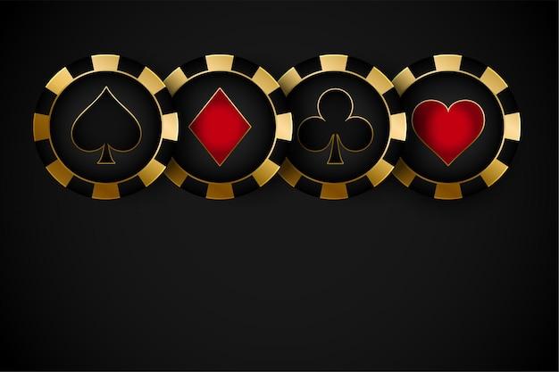 Fichas de símbolos de casino premium doradas