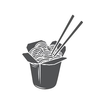 Fideos de caja de wok de cartón para llevar con verduras e icono monocromo de glifo de cerdo frito