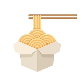 Fideos chinos en caja de papel blanco