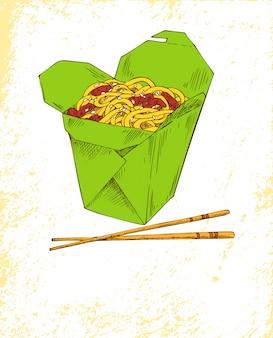 Fideos comida asiática ilustración colorida
