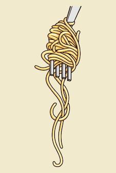 Fideos con ilustración de vector de tenedor