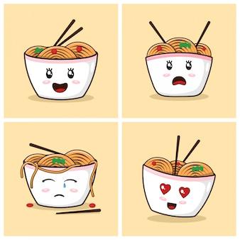 Fideos ramen cute dibujos animados con emociones