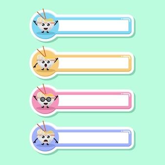 Fideos ramen etiqueta etiqueta de nombre lindo personaje mascota