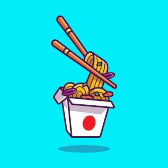 Fideos ramen con ilustración de dibujos animados de palillos.
