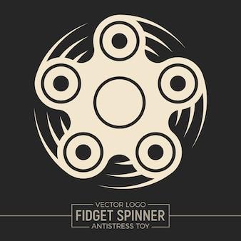 Fidget spinner diseño plano del logotipo gráfico