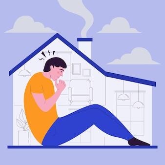 Fiebre de cabina con hombre en casa