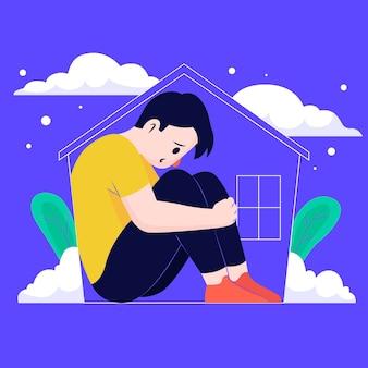 Fiebre de cabina con hombre triste en casa