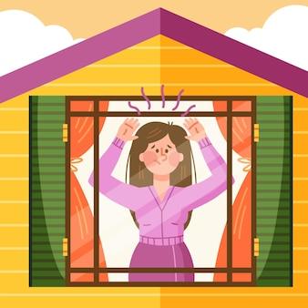 Fiebre de cabina con mujer en casa