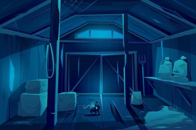 Fieldmouse en casa del granero de la granja en la noche.
