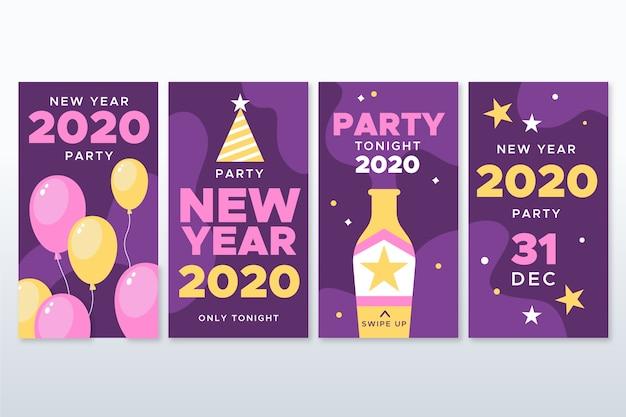 Fiesta de año nuevo 2020 colección de historias de instagram