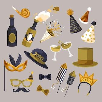 Fiesta de año nuevo champagne y decoración