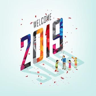 Fiesta de año nuevo con concepto isométrico.